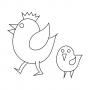 Slepička s kuřátkem